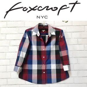 Foxcroft NYC Shirt Sue Wrinkle Free Buffalo Plaid
